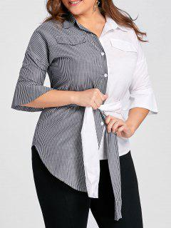 Plus Size Contrast Stripe Shirt With Belt - Grey And White 3xl
