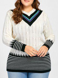 Plus Size V Neck Striped Long Sweater - White