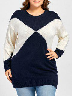 Plus Size Two Tone Drop Shoulder Sweater - Purplishblue + White
