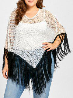 Plus Size Open Knit Tassel Poncho Sweater - White