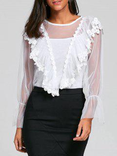 Blouse Brodée Transparente Avec Cami Top - Blanc