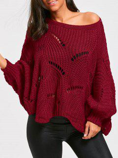 Batwing Sleeve Oversized Chunky Sweater - Wine Red