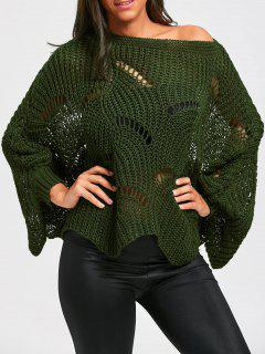 Batwing Sleeve Oversized Chunky Sweater - Army Green