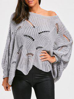Batwing Sleeve Oversized Chunky Sweater - Gray
