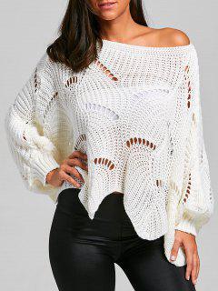 Batwing Sleeve Oversized Chunky Sweater - White