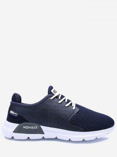 Mesh Breathable Letter Sneakers - Deep Blue 40