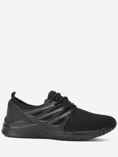Breathable Low Top Athletic Shoes - Black 45