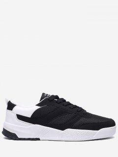 Contrast Color Mesh Breathable Skate Shoes - Black White 40