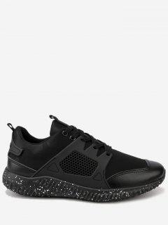 Breathable Geometric Lace Up Sneakers - Black 44