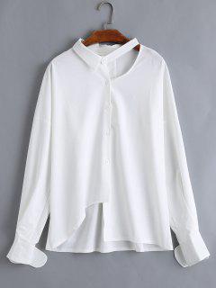 Cortar El Botón Para Arriba Blusa Asimétrica De Tamaño Más - Blanco 3xl