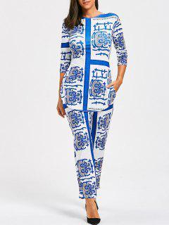 Camiseta Y Pantalones Con Flecos De Porcelana - Nublado M