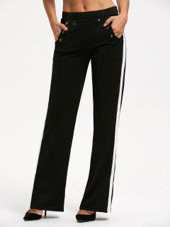 Casual Color Trim Straight Pants With Pocket - Black S