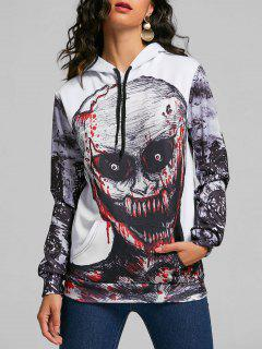 Raglan Sleeve Evil Skull Halloween Hoodie - White L