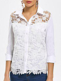 Hollow Out Button Up Lace Shirt - White M