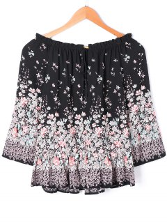 Tiny Floral Print Off The Shoulder Blouse - Black 2xl