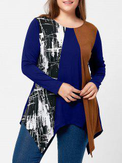 Plus Size Long Sleeve Handkerchief T-shirt - Blue 5xl
