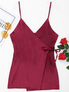 Satin Wrap Slip Dress - Wine Red M