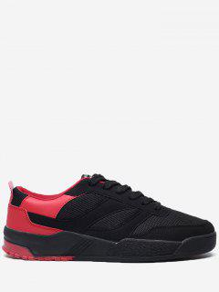 Contrast Color Mesh Breathable Skate Shoes - Red With Black 42