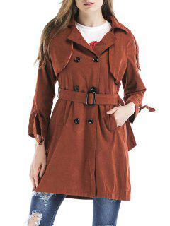 Double Breasted Tied  Trench Coat - Brick-red M