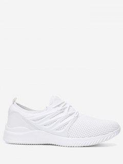 Breathable Low Top Athletic Shoes - White 42