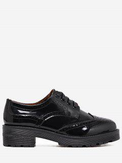Wingtip Contrast Color Brogues Flat Shoes - Black 36