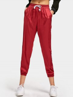 Drawstring Ribbons Trim Satin Pants - Wine Red L