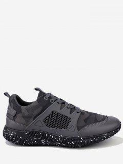 Breathable Geometric Lace Up Sneakers - Gray 43