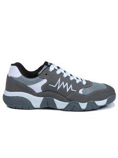 Color Block Mesh Insert Breathable Running Sneakers - Gray 39