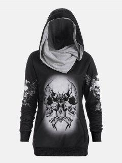 Skull And Wings Print Halloween Hoodie - Black M