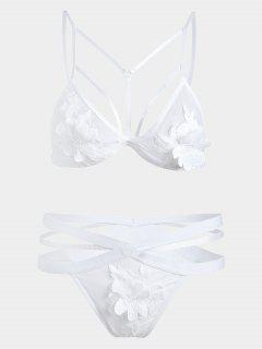 Mesh Cut Out Applique Bandage Bra Set - White S