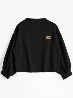 Badge Patched Lantern Sleeve Sweatshirt - Black