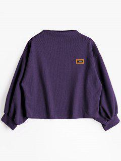 Badge Patched Lantern Sleeve Sweatshirt - Deep Purple