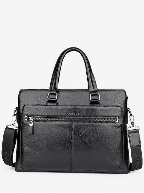 new PU Leather Top Handle Handbag - BLACK  Mobile