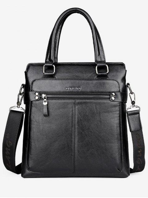 ladies Zip Faux Leather Crossbody Bag With Handle - BLACK  Mobile