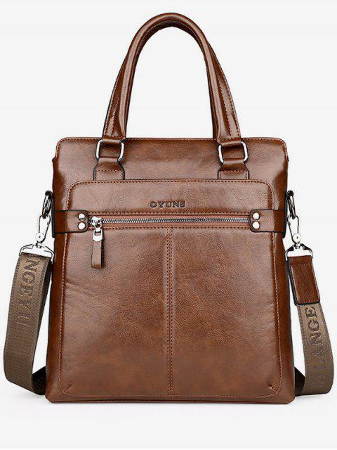 Zip Faux Leather Crossbody Bag With Handle - Kaki  Mobile