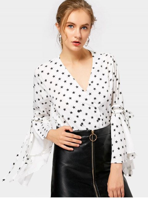 outfit Plulnging Neck Flare Sleeve Star Blouse - WHITE L Mobile