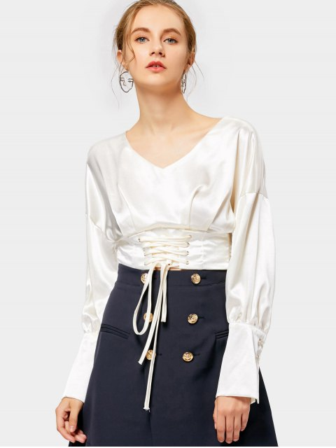 fancy Lace Up Crop Shiny Blouse - OFF-WHITE ONE SIZE Mobile
