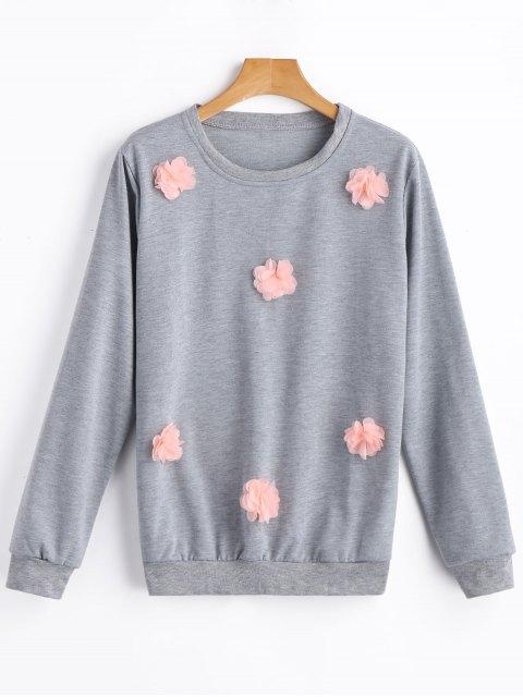 Sweat-shirt Floral Applique - gris M Mobile