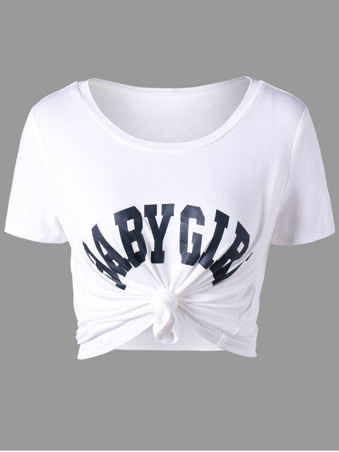 T-shirt Court à Message - Blanc 2XL Mobile
