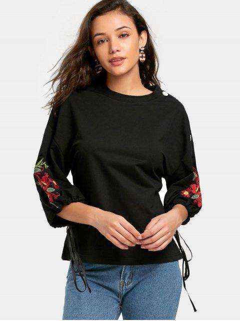Sweat-shirt Brodé Floral à Boutons Détaillés - Noir S Mobile