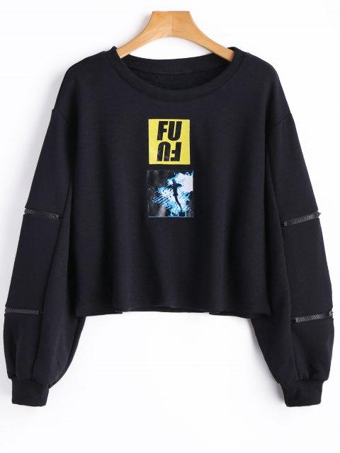 Sweat-shirt à Motif à Manches Zippées - Noir S Mobile