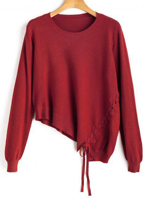 Tricot Asymétrique à Lacets - Rouge Taille Unique Mobile