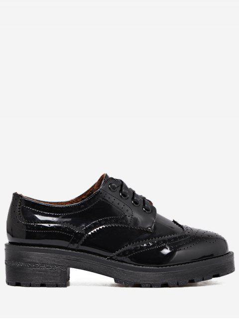 ladies Wingtip Contrast Color Brogues Flat Shoes - BLACK 35 Mobile