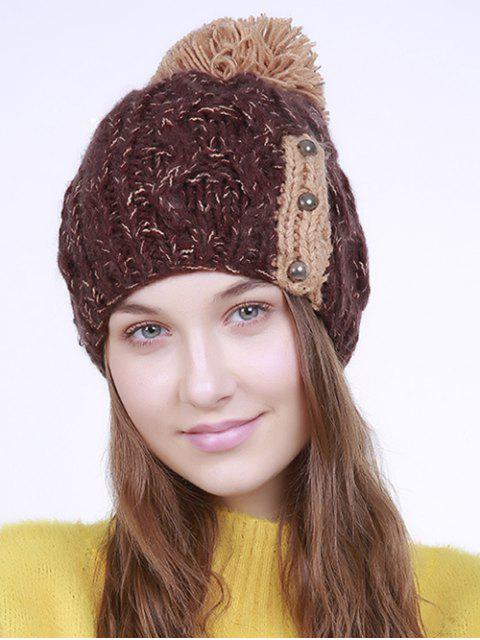 fancy Three Beaded Button Knit Pom Hat - COFFEE  Mobile