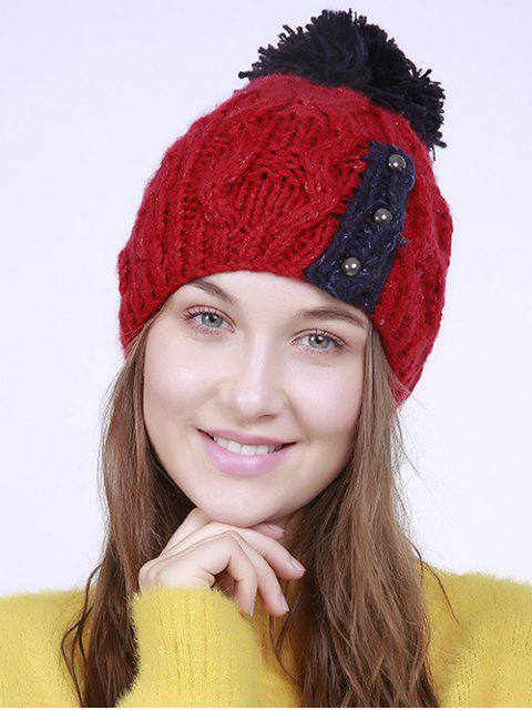 affordable Three Beaded Button Knit Pom Hat - RED  Mobile
