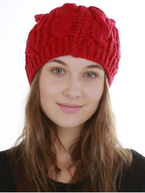 women Halloween Cat Ear Decorated Slouchy Knit Beanie - RED  Mobile