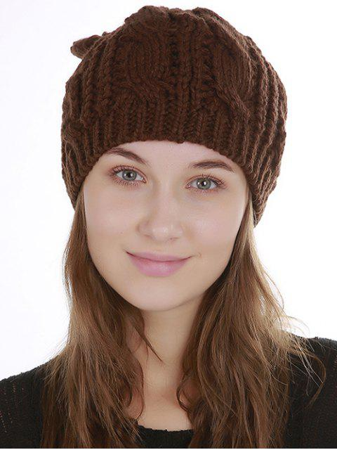 ladies Halloween Cat Ear Decorated Slouchy Knit Beanie - COFFEE  Mobile