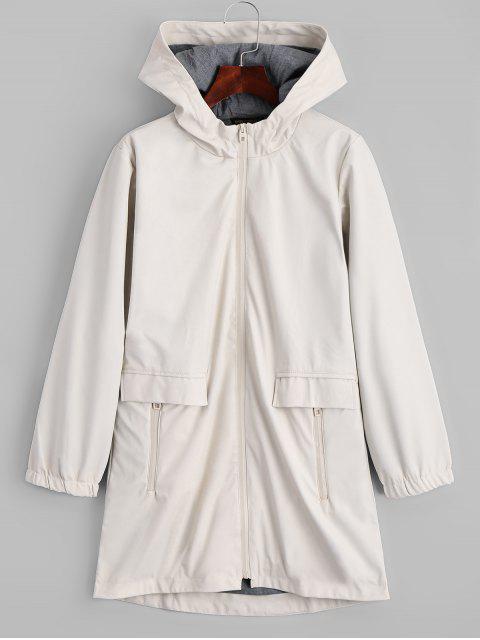 Manteau Capuche Zippé en Faux Cuir - Blanc Cassé M Mobile