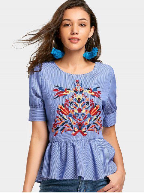 fancy Embroidered Flounces Stripes Blouse - STRIPE M Mobile