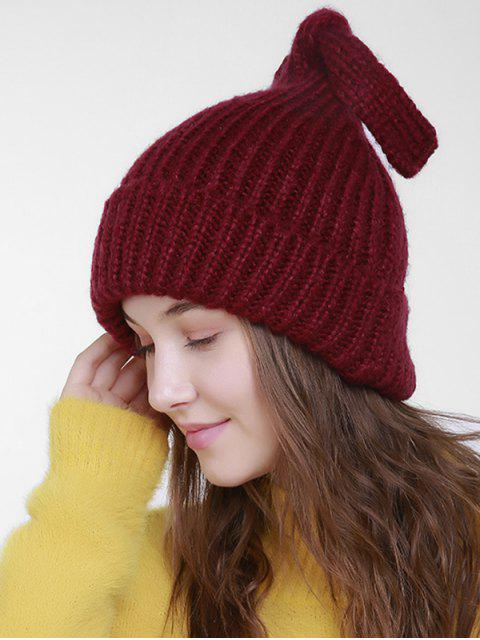 ladies Christmas Flanging Knit Hat with Tail - DARK RED  Mobile